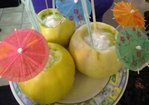 Melon con vino (melon filled with wine)!