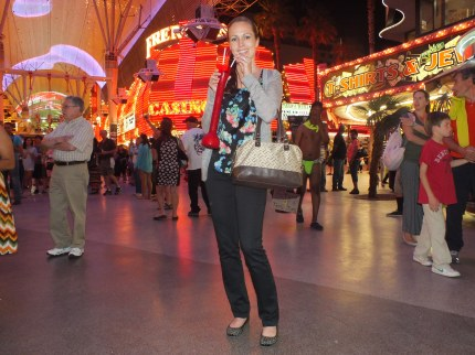Having a drink in the Fremont Street