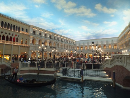 "The upscale mall ""Grand Canal Shoppes"" inside the Venetian  Palazzo Hotel (ceiling is painted!)"