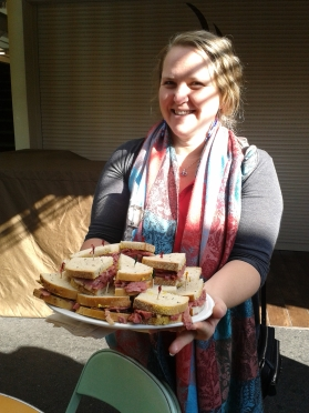 Our lovely guide Sarah with delicious roast beef toasts to try