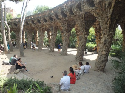 Listening to a wonderful musician in Park Güell