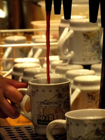 "The most famous drink on any Christmas market - the ""Glühwein"" (mulled wine)"