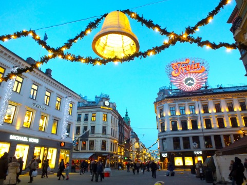 """God Jul"" means Merry Christmas in norwegian - Oslo is wonderful in the winter time."