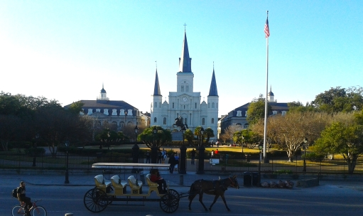 "The St. Louise Cathedral in New Orleans, situated in the ""throne"" of the French Quarter."