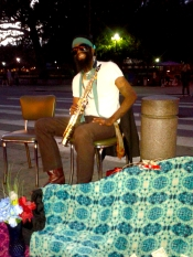 A cool street musician playing in front of the famous Cafe du Monde!