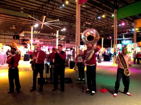 Band playing at the Mardi Gras World (the picture is blurry because I just could not keep still!)