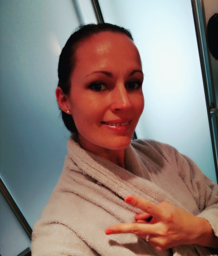 Me ready for my facial. Make-up removal is part of the treatment, so come as you are!